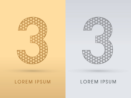 third birthday: 3 Number Luxury font outline designed using gold geometric on gold background concept shape from screws hexagon honeycomb jewelry gems logo symbol icon graphic vector.