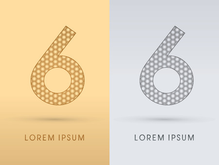 6 Number Luxury font outline designed using gold geometric on gold background concept shape from screws hexagon honeycomb jewelry gems logo symbol icon graphic vector.