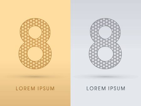 8 Number Luxury font outline designed using gold geometric on gold background concept shape from screws hexagon honeycomb jewelry gems logo symbol icon graphic vector. Vector