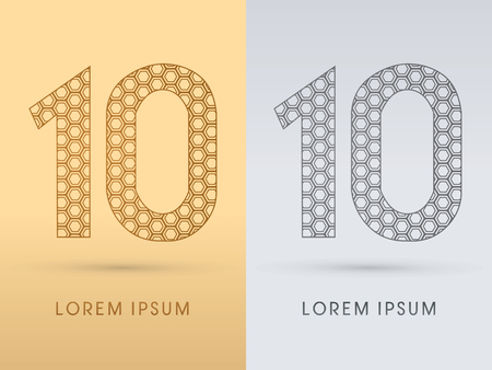 10 Number Luxury font outline designed using gold geometric on gold background concept shape from screws hexagon honeycomb jewelry gems logo symbol icon graphic vector. Vector