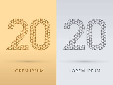 20 Number Luxury font outline designed using gold geometric on gold background concept shape from screws hexagon honeycomb jewelry gems   symbol icon graphic vector. Vector