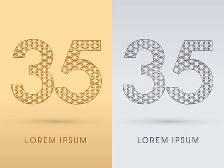 35 Number Luxury font outline designed using gold geometric on gold background concept shape from screws hexagon honeycomb jewelry gems logo symbol icon graphic vector. Vector