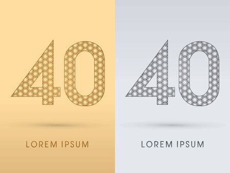 40 Number Luxury font outline designed using gold geometric on gold background concept shape from screws hexagon honeycomb jewelry gems logo symbol icon graphic vector. Vector