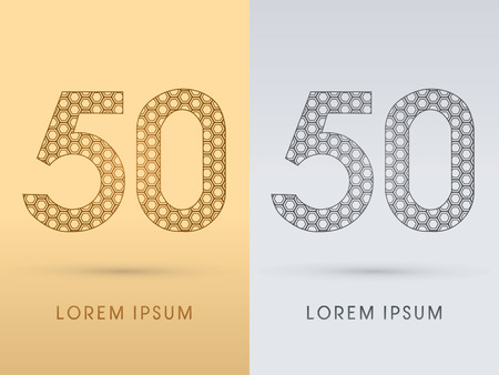 50 number: 50 Number Luxury font outline designed using gold geometric on gold background concept shape from screws hexagon honeycomb jewelry gems logo symbol icon graphic vector.