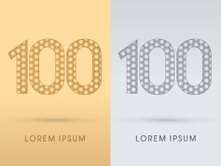 100 Number Luxury font outline designed using gold geometric on gold background concept shape from screws hexagon honeycomb jewelry gems logo symbol icon graphic vector. Vector