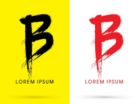 B Chinese brush grunge font designed using black and red brush handwriting logo symbol icon graphic vector. Ilustrace