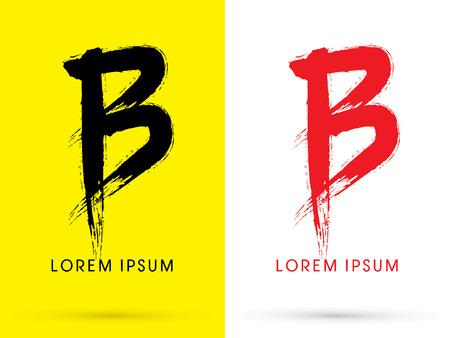 letter b: B Chinese brush grunge font designed using black and red brush handwriting logo symbol icon graphic vector. Illustration