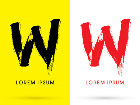 w: W Chinese brush grunge font designed using black and red brush handwriting logo symbol icon graphic vector.
