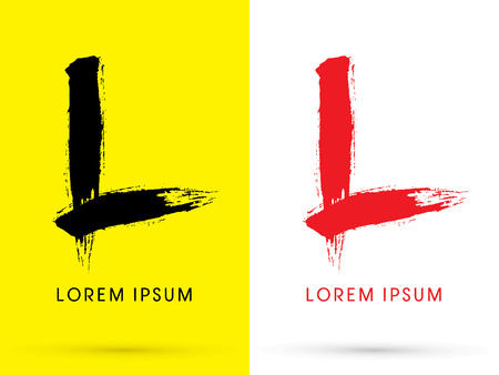l red: L Chinese brush grunge font designed using black and red brush handwriting logo symbol icon graphic vector.