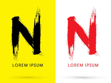 letter n: N Chinese brush grunge font designed using black and red brush handwriting logo symbol icon graphic vector. Illustration