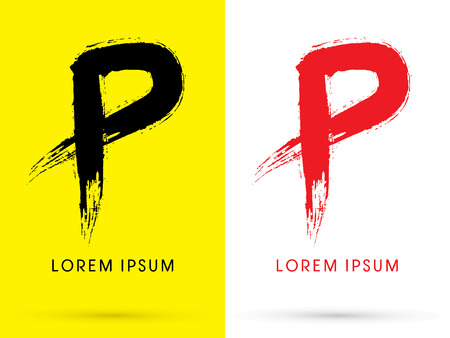 letter p: P Chinese brush grunge font designed using black and red brush handwriting logo symbol icon graphic vector.