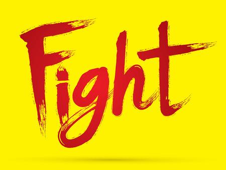 combate: Lucha fuente pincel grunge chino dise�ado usando negro y rojo caligraf�a cepillo logotipo del icono del s�mbolo gr�fico vectorial.