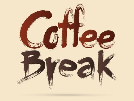 Coffee Break  Chinese brush grunge font designed using black and red brush handwriting logo symbol icon graphic vector. Vector