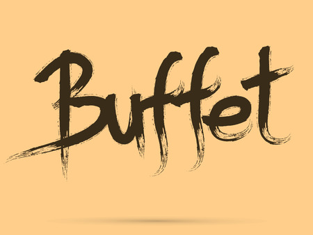Buffet Chinese brush grunge font designed using black and red brush handwriting logo symbol icon graphic vector.