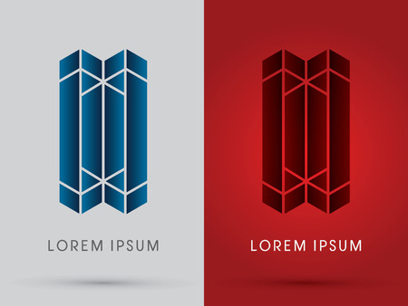 abstract building: Abstract Building architecture designed using blue and red geometric logo symbol icon graphic vector. Illustration