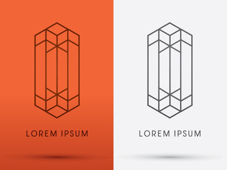 architect: Abstract Buildingarchitecture designed using line logo symbol icon graphic vector. Illustration