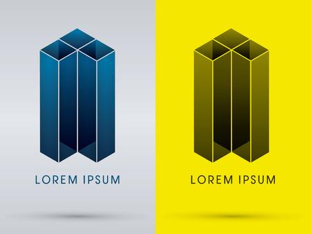 elementos: Arquitectura Construcción abstracta diseñada utilizando azul y negro geométrico icono logo símbolo gráfico vectorial.