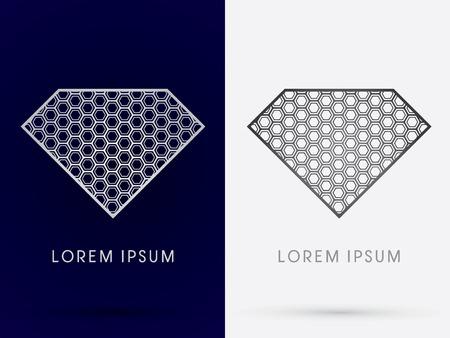 diamond shape: Luxury Diamond abstract designed using hexagon geometric shape logo symbol icon graphic vector. Illustration