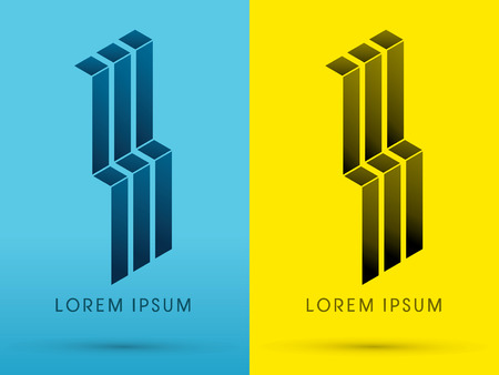 abstract building: Abstract Building architecture design using blue and black geometric  logo symbol icon graphic vector.
