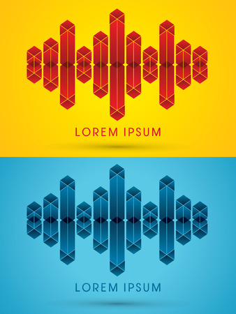 Abstract Sound wave music designed using red and blue geometric logo symbol icon graphic vector. Vector