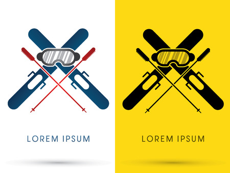 ski jump: Ski equipment composition logo symbol icon graphic vector.