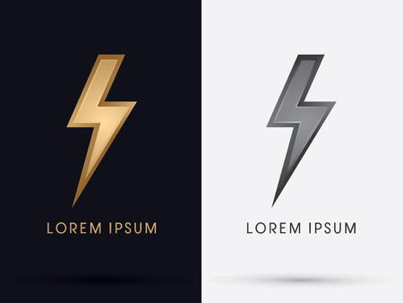 Luxury Thunder Bolt Abstract Lighting flat logo symbol icon graphic vector.