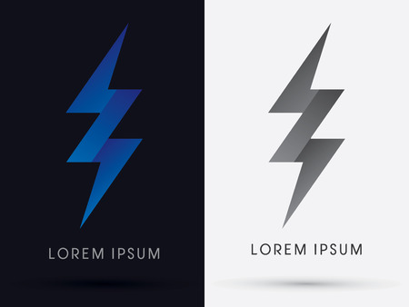 Thunder Bolt Abstract Lighting flat logo symbol icon graphic vector. Vector