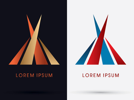 luxury home exterior: Abstract  luxury building tent architect logo symbol icon graphic vector.
