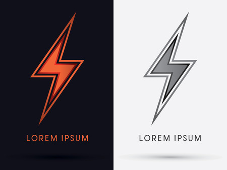 Thunder Bolt Abstract Lighting flat logo symbol icon graphic vector. Reklamní fotografie - 40269277