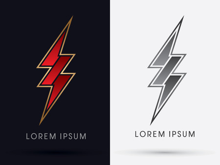Thunder Bolt  Abstract Lighting flat logo symbol icon graphic vector.