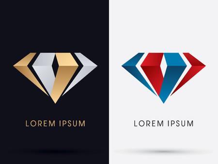 Gema de diamante joyería abstracta diseñada usando oro y los colores rojo y azul de plata logotipo del icono del símbolo gráfico vectorial.