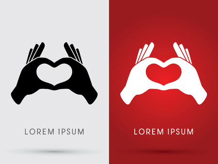 hand language: Hand language Heart love shadow logo symbol icon graphic vector.