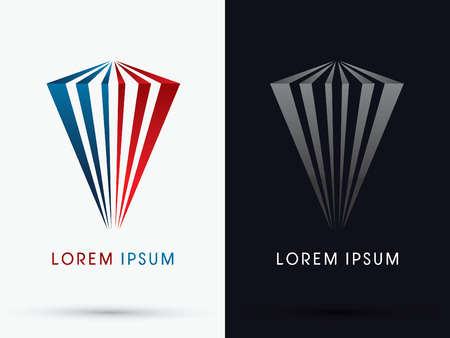 Abstract  luxury building designed using red and blue line logo symbol icon graphic vector. Illustration