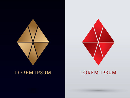 Abstract Jewelry diamond gemstone designed using gold and red colors geometric shape logo symbol icon graphic vector. Stock Illustratie