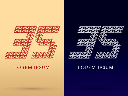 35 Number Luxury font designed using red and silver triangle geometric shape on gold and dark blue background concept shape from jewelry diamond gems logo symbol icon graphic vector. Vector