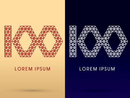 100 Number Luxury font designed using red and silver triangle geometric shape on gold and dark blue background concept shape from jewelry diamond gems  symbol icon graphic vector. Vector