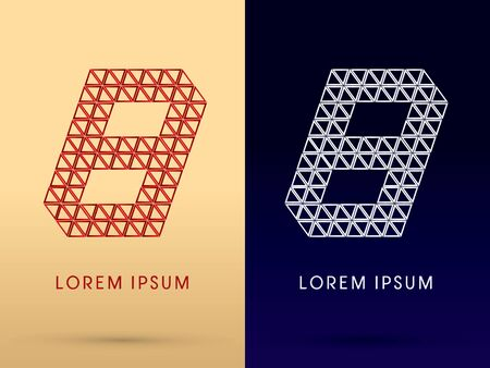 8 Number Luxury font designed using red and silver triangle geometric shape on gold and dark blue background concept shape from jewelry diamond gems  symbol icon graphic vector. Vector