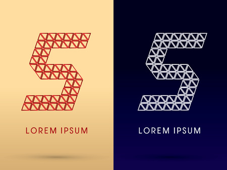 5 Number Luxury font designed using red and silver triangle geometric shape on gold and dark blue background concept shape from jewelry diamond gems  symbol icon graphic vector. Vector