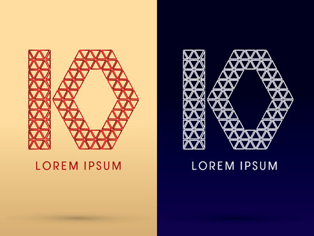 diamond shape: 10 Number Luxury font designed using red and silver triangle geometric shape on gold and dark blue background concept shape from jewelry diamond gems  symbol icon graphic vector.