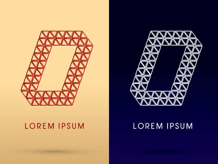0 Number Luxury font designed using red and silver triangle geometric shape on gold and dark blue background concept shape from jewelry diamond gems  symbol icon graphic vector. Vector
