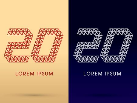 20 Number Luxury font designed using red and silver triangle geometric shape on gold and dark blue background concept shape from jewelry diamond gems  symbol icon graphic vector. Vector