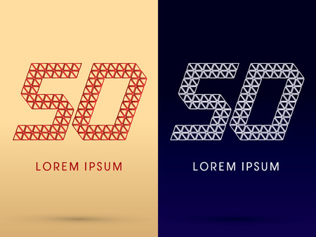 50 number: 50 Number Luxury font designed using red and silver triangle geometric shape on gold and dark blue background concept shape from jewelry diamond gems  symbol icon graphic vector.