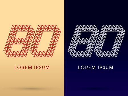 diamond shape: 80 Number Luxury font designed using red and silver triangle geometric shape on gold and dark blue background concept shape from jewelry diamond gems  symbol icon graphic vector.