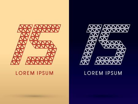 15 Number Luxury font designed using red and silver triangle geometric shape on gold and dark blue background concept shape from jewelry diamond gems  symbol icon graphic vector. Vector