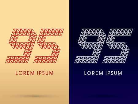 diamond shape: 95 Number Luxury font designed using red and silver triangle geometric shape on gold and dark blue background concept shape from jewelry diamond gems  symbol icon graphic vector. Illustration