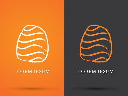 Outline Salmon Sushi design using freestyle grunge brush Japanese restaurant logo symbol icon graphic vector. Vector