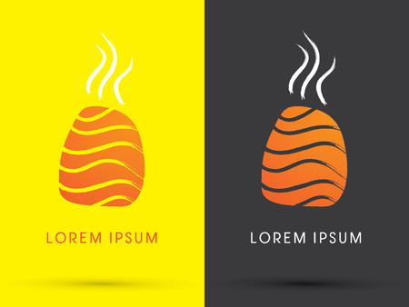 freestyle: Salmon Sushi with smoke design using freestyle grunge brush Japanese restaurant logo symbol icon graphic vector. Illustration