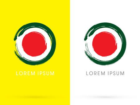 logo de comida: Sushi restaurante japonés diseñado utilizando cepillo grunge usando círculo rojo sobre fondo blanco vea como logotipo de la bandera de Japón del icono del símbolo gráfico vectorial.
