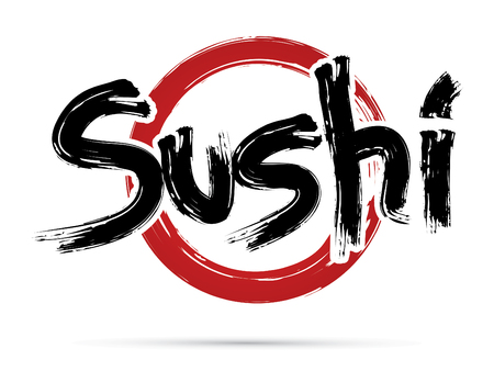 Sushi text design using freestyle grunge brush Japanese restaurant logo symbol icon graphic vector. Çizim