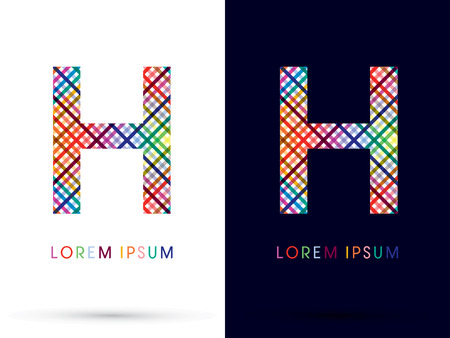 h: H colorful font designed using colors line on white and black background concept wicker basket  woven ribbons happy fun fantasy logo symbol icon graphic vector.